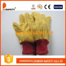 Golden Yellow Chore Glove Knitted Wrist Safety Gloves Dcd103