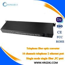 Fxs de teléfono de 16 canales a fx pots (rj11) línea telefónica sobre convertidor de fibra