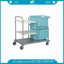 AG-SS018 Chariot de collecte de vêtements en acier inoxydable