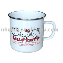 enamel mug with stainless steel rim and fashional design