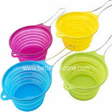 Foldable Plastic Silicone Colander with Handle