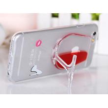 Caja líquida del teléfono móvil del soporte del vidrio de vino rojo para el iPhone 6