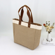 Wholesale Customized Logo Over size Eco Reusable Tote Burlap Jute Bag With Leather Handles