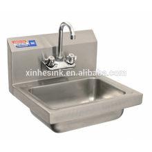 Коммерчески раковина мытья руки с backsplash, выплеск смонтирована стальная коммерческих ручной раковина из нержавеющей для общепита
