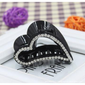 Griffe de diamants coeur noir de haute qualité (XHJ14317)