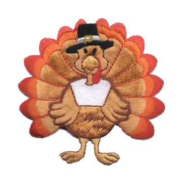 Medium Thanksgiving Turkey Iron on Embroidered Patch