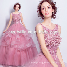 Princess Sweet Ball Gown Dark Pink Cinderella Vestido de baile com espartilho de volta 2017