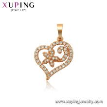 34102 xuping fashion gold plated heart shaped multi stone pendant