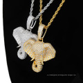 Nc-124 2020 Hip Hop Style Elephant Pendant Full Zircon Hipster Personality Necklace Jewellery Gold Chain Necklace for Unisex
