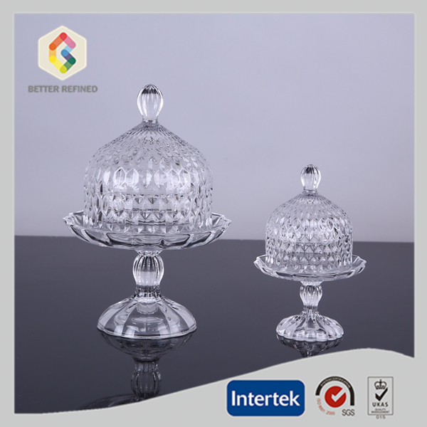 glass cake plate with dome