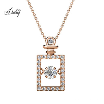 Gold Plated Luxury Girlfriend Gift Set Dancing Square Perfume Crystal Pendant Necklace