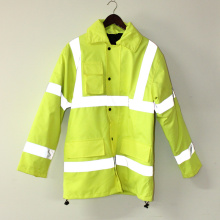 Lucifer Yellow Lime Hooded PU Jacket/Raincoat/Reflective/Safety Clothing for Adult