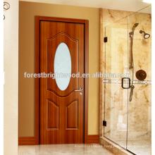 Puerta moldeada de melamina para baño con inserción de vidrio esmerilado