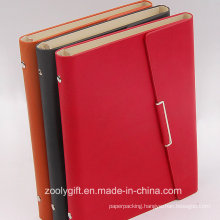 PU Leather 6 Ring Binders Planner / PU Leather Ring Binders Organizer with Card Slots and Flap Snap Closure