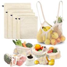 New reusable oganic string cotton mesh folding shopping bag for fruits reusable mesh shopping bag