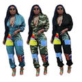 C3693 wholesale Sexy lady long sleeve leisure  loose printing zipper jumpsuit women sexy casual clothing 2020 hot selling