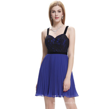 Starzz 2016 New Design Sexy Spaghetti Straps Pleated Blue Chiffon Short Cocktail Dress ST000003-3