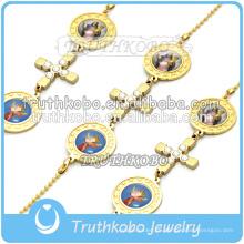 Rosario judío pulsera de oro Cruz religiosa Religiosa Virgen María Pulsera de cadena cristiana dongguan fábrica hecha a mano