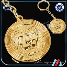 custom gilded lion head round shape gold keychain