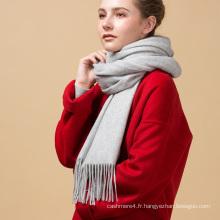 La mode fait sur commande fait belle conception de haute qualité gris clair 100% pur écharpe de cachemire