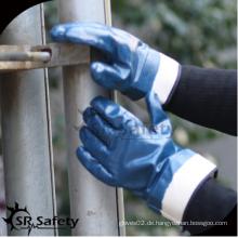 SRSAFETY billig Preis / Trikot Liner blau Nitril voll Tauchöl Industrie Handschuh / Hand Handschuhe
