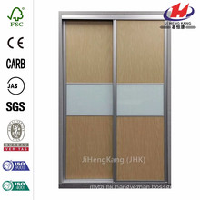 48 in. x 96 in. Trinity Maple and White Painted Glass Aluminum Interior Sliding Door