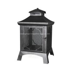 Black Sand Paint Steel Wood Outdoor Firepit