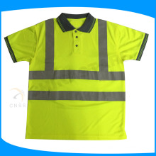 EN ISO 20471 camisa reflectante de seguridad POLO con cuello de color gris