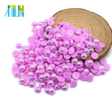 Colorful AB Half Pearls Decorative Beads Pearls in Bulk , A11-Lt.purple AB