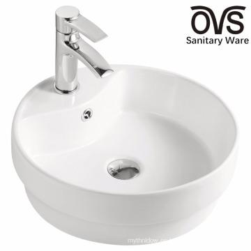 Lavabo semi empotrado de baño blanco popular