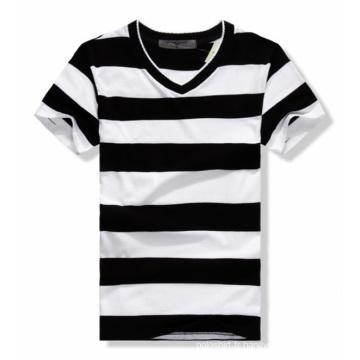 Cheap Stripes Round Neck Short Sleevs Loose Man T-shirt