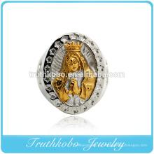 Vacío trenzado de oro de acero inoxidable orando anillos de dedo de la madre moda hombres religión joyería titanio hombres anillo de fundición