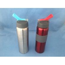 Botella deportiva de agua de acero inoxidable con tapa plegable