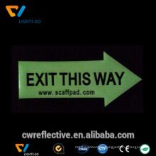 cheap wholesale glow in the dark wall sticker,fluorescent exit sign