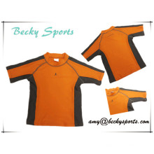 Children′s Rash Guard Rashguard Sportwear Surfing Wear with Contrast Color and Flatlock Stitching