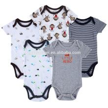 Hot sale short sleeve kids romper sets organic cotton baby boy clothes 0-3 months