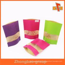 Biodegradable Full Color Printing Custom Brown Kraft Paper Snacks Bag