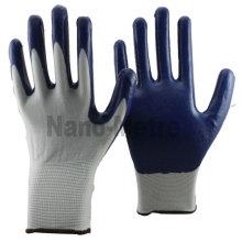 NMSAFETY 13 gauge white nylon gloves with palm coating blue nitrile EN388 4121 work gloves