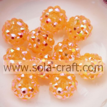 10*12MM Clear Orange AB Solid Resin Rhinestone Round Beads For Lovely Girls Necklace