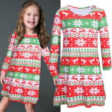 Vestido de traje de árvore de Natal de impressão de listra doce de inverno que combina roupas de Natal de família
