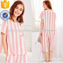 Bonito Branco E Rosa Stripe Manga Curta De Verão Pijama Fabricação Atacado Moda Feminina Vestuário (TA0004P)
