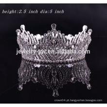 Acessórios de cabelo meninas completa rodada rhinestone tiara coroa para o anjo