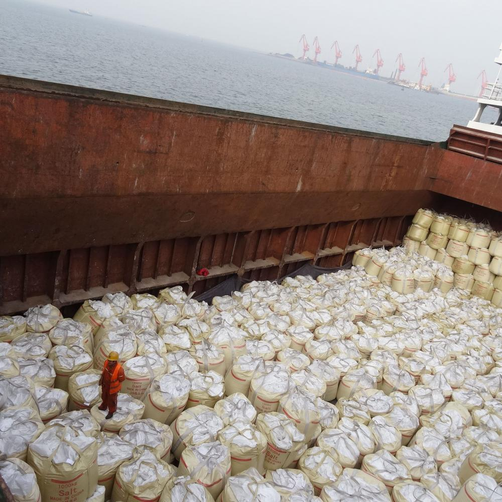 Industrial Salt Is Loading In A Ship