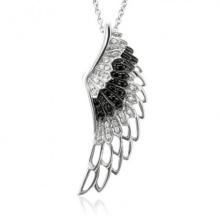 Schwarzer weißer Diamant 925 silberner Engels-Flügel-Anhänger-Halsketten-Schmucksachen