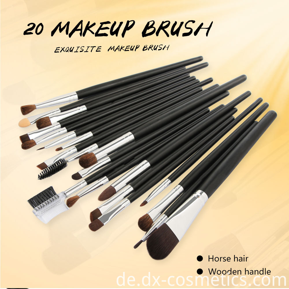 20 PCS Horse Hair Wooden Handle Makeup Brushes sets 1