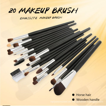 20PCS Juegos de cepillos de maquillaje con mango de madera de pelo de caballo