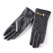 Леди проверено шаблон овчины кожаные перчатки для вождения (YKY5212-2)
