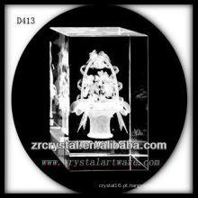 Cestas da flor do laser 3D K9 dentro do retângulo de cristal