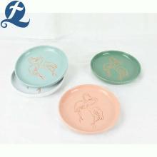 Best selling kitchen flamingo restaurant ceramic round dinner plate