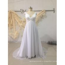 Чистый Белый Плюс Размер Шифон Пляж Свадебное Платье Свадебное Платье